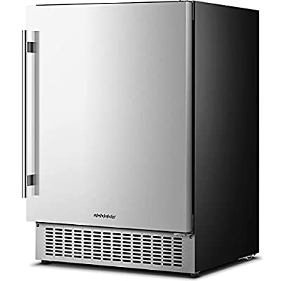 Beverage Cooler 24 Inch, Built-in and Freestanding Beverage Refrigerator 180 Cans, Stainless Steel Under Counter Beverage Fridge with Advanced Cooling System, Adjustable Shelf, Energy Saving, Perfect for Soda, Water, Beer, etc.