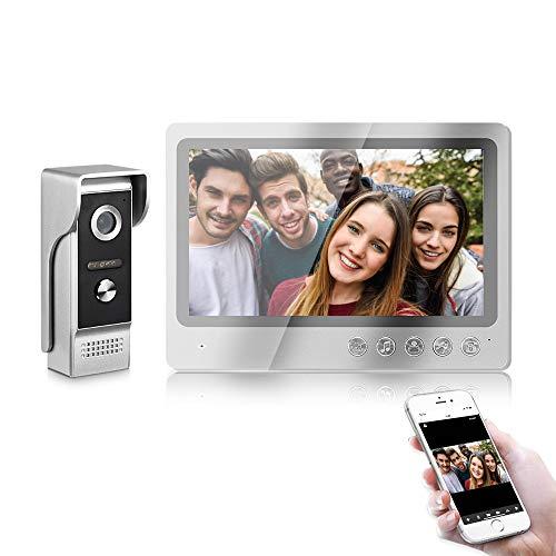 IP de vídeo portero automático sistema de intercomunicación - APP por control remoto timbre de la puerta con 9 pulgadas de pantalla IR cámara de visión nocturna resistente al agua para el hogar Villa