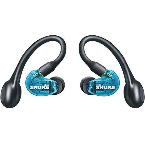 SHURE AONIC 215 - Auriculares inalámbricos, True Wireless Earbuds, bajos profundos, Bluetooth 5, sobre la oreja, estuche de transporte con función de carga, Azul