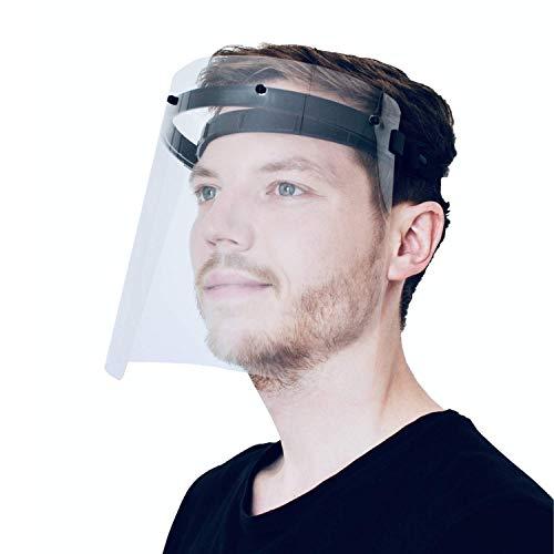 PATRONUS PROTECTION CE-zertifizierter Gesichtsschutz und Augenschutz (face Shield) / Spuckschutz-Schirm inkl. 2X hochwertiges Visier (transparent, klar und beschlagarm)