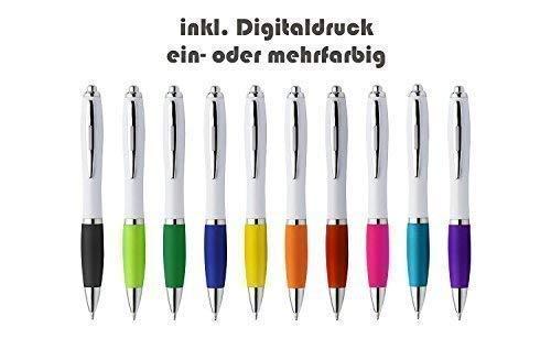 Schmalz Werbeservice Kunststoff Kugelschreiber Swansea inkl. Druck mit Werbung/Logo/Druck/Werbedruck Kugelschreiber Bedruckt Digitaldruck Mehrfarbig (Menge: 100 Stück, Hellblau)