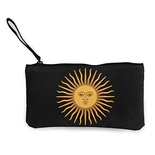 SDFGJ Argentina Flag Logo Canvas Coin Coin Purse Novelty Wristlet Wallet Money Coin Bag Cellphone Bag with Zipper