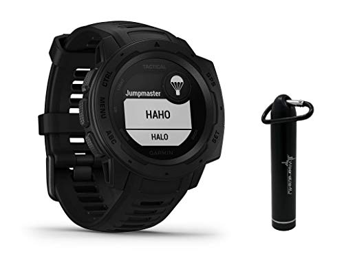 Garmin Instinct Tactical Edition GPS Watch and Wearable4U 2200 mAh Power Bank Bundle (Tactical Black)