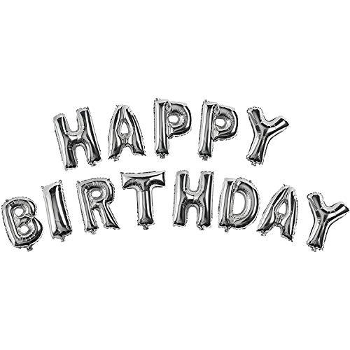 TRIXES Ballons Argentés Qui forment Les Lettres de Happy Birthday