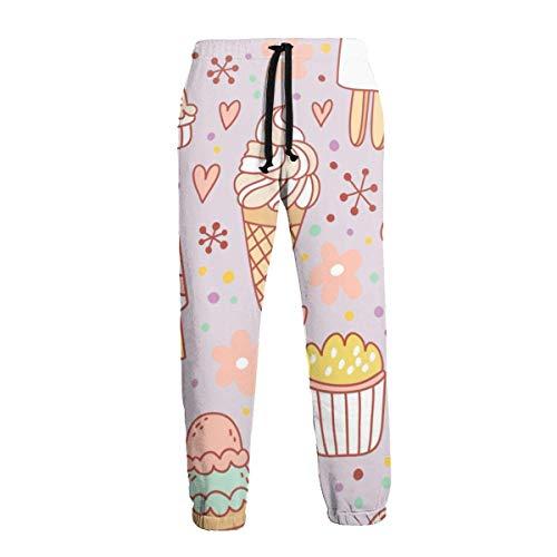 Hangdachang Herren Jogginghose Kekse Lollipop Cupcakes Candy Ice Cream Freizeithose Komfortable Jogger Sporthose 3XL