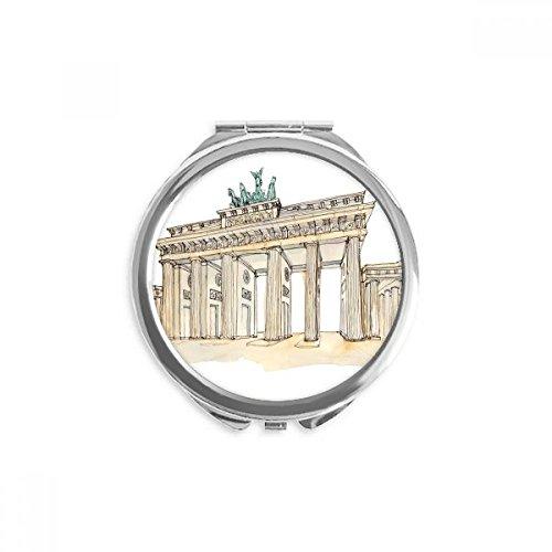 DIYthinker Brandenburg Tür in Ost-Deutschland Spiegel Runde bewegliche Handtasche Make-up 2.6 Zoll x 2.4 Zoll x 0.3 Zoll Mehrfarbig