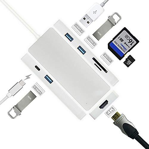 QWER USB C Hub 7 In 1 Type C naar HDMI 4K Adapter Met 3 USB Ports SD/TF kaartlezer Voor Nieuwe MacBook/MacBook Pro 2016/2017,HP Spectre X360/Dell XPS,Samsung Galaxy S8 En Meer (Space Grey/Silver)