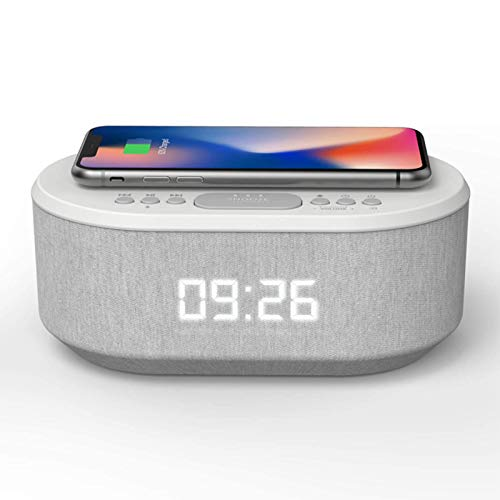Radio Alarm Clock, Clock Radio with Bluetooth Speaker and Wireless Charger, Dual Alarms Bedside Clock with USB Charger, Qi Charger, Snooze, Dimmable LED Display (i-box Dawn White)