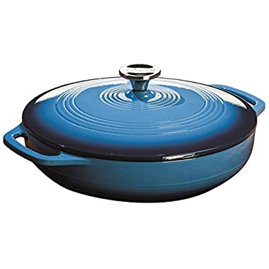 Lodge EC3CC33 Enameled Cast Iron Covered Casserole, 3.6-Quart, Caribbean Blue