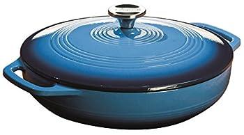 Lodge 3.6 Quart Enamel Cast Iron Casserole Dish with Lid  Carribbean Blue