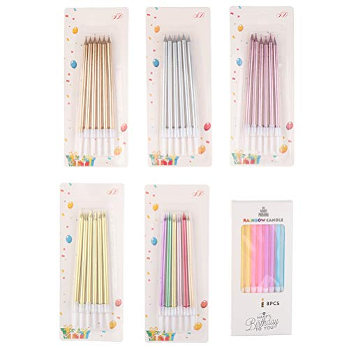RUIYELE 38 Count Colorful Long Thin Cake Candles Metallic Birthday Candles in Holders Long Pencil Cupcake Candles for Birthday Cake Wedding Party Decoration