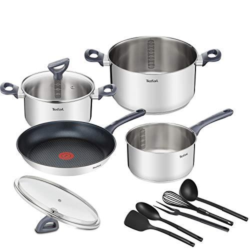Tefal Daily Cook - Juego de 1 Sartén y 3 Ollas + Tapas y Accesorios: Sartén 28 cm, Cazo 16 cm, Ollas 20/24 cm de acero inoxidable, 2 tapas vidrio, 5 accesorios cocina, Thermospot, todo tipo de cocinas