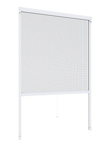 Windhager Insektenschutz Rollo Fenster Plus, Fliegengitter Alurahmen für Fenster, individuell kürzbar, weiß, 160 x 160 cm, 03892