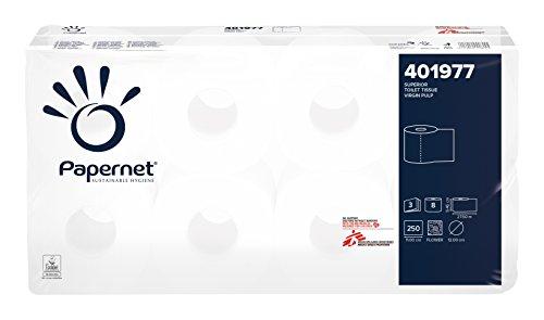 72 Rollen Papernet 401977 Kleinrollen Toilettenpapier 3-lagig weiss aus Zellstoff-Frischfasern 250 Blatt 9 x 8 Rollen