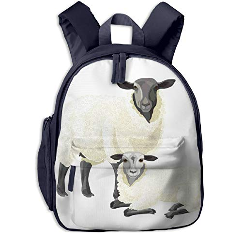 Children's Backpacks Wool Sheep Lamb Students School Bag Child Kids Casual Daypack Sports Travel Outdoor, Lightweight, for Boys Girls