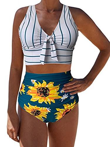 Sofia's Choice Damen Zweiteiliger Blumendruck Badeanzug High Waist Bikini Set - Weiß - Large