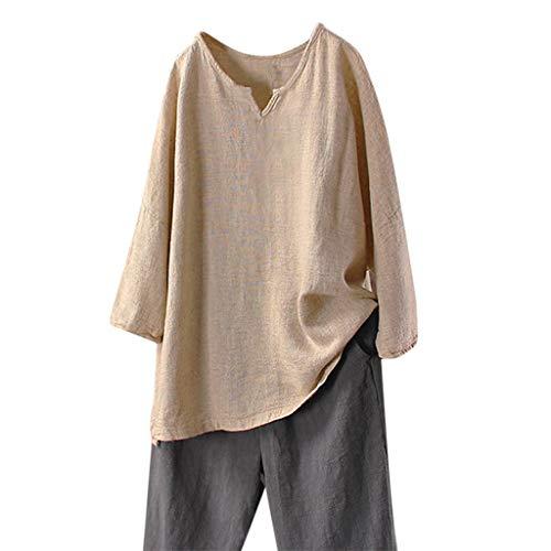 BHYDRY Camisa de Lino sólido de Manga Larga para Mujer Casual Blusa Extragrande con Cuello en v Tops