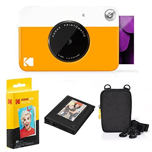 KODAK: Paquete cámara instantánea Printomatic (Amarilla) + Papel Zink (20 Hojas) + Funda álbum de Fotos + Marcos para Colgar + cómoda