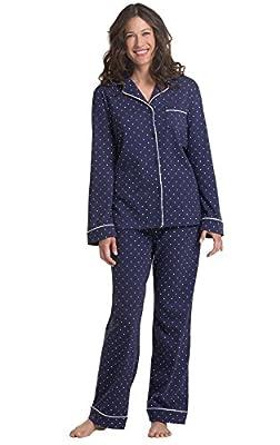 PajamaGram Pajama Set for Women - Cotton Jersey Pajamas Women, Navy, M, 10-12 by PajamaGram