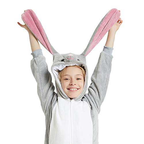 ANBOTA Easter Bunny Costume Rabbit Onesie for Kid Girl Boy Halloween Pajama, Gray, 120