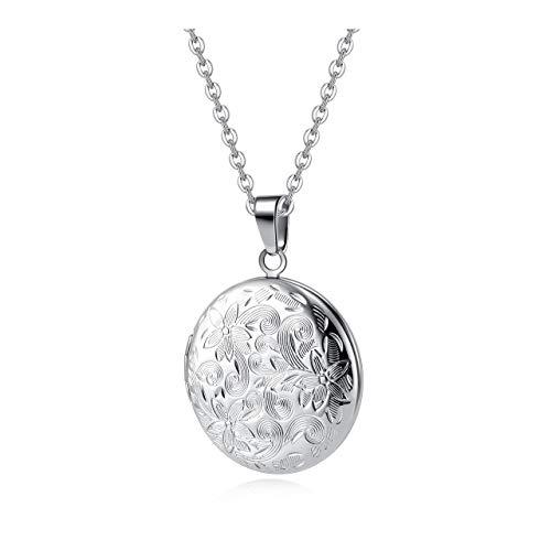 Zysta Vintage Charms Medaillon Kette für Foto Bilder, Silber Rund/Herz Anhänger zum Öffnen mit Blumen Muster Herzanhänger Amulett für Damen Mädchen (Rund Anhänger)