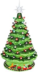"""GREAT XMAS DÉCOR: This 15"""" (include Star Topper) tabletop Christmas tree with multicolored bulbs is perfect for homes, office, and holiday decorations. Comes with one extra yellow star topper and 10 more bulbs BEAUTIFUL LOOKS: Christmas tree body is ..."""