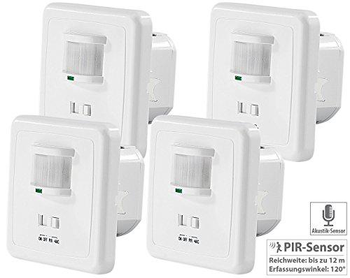 revolt Lampe Klatschsensor: 4er-Set Automatische Lichtschalter mit PIR- und Akustik-Sensor (Licht mit Klatschsensor)