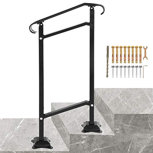 VEVOR Wrought Iron Handrail, Fit 1 or 2 Steps Outdoor Stair Railing, Adjustable Front Porch Hand Railings, Black Transitional Hand Rail for Concrete Steps or Wooden Stairs with Installation Kit
