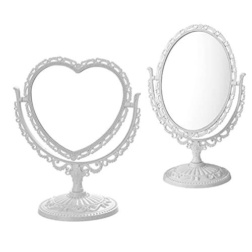 Minkissy 2 Piezas de Espejo de Maquillaje Antiguo de Sobremesa con Soporte Espejo Cosmético Giratorio de Doble Espejo de Tocador Ovalado Espejo de Maquillaje para Baño Dormitorio