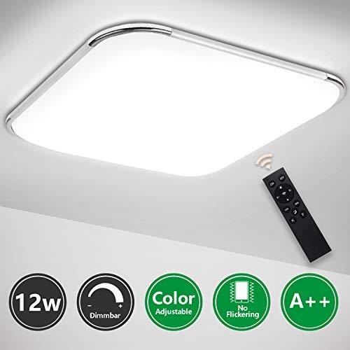 Hengda LED Deckenleuchte Dimmbar mit Fernbedienung 12W Bad Deckenlampe Leuchte Schlafzimmer Lampen für Badezimmer Küche Kinderzimmer Wohnzimmer IP44