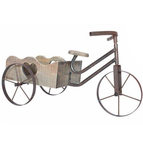 Agecroft Garden Centre Grande Tricycle en métal avec pot de fleurs en bois 60 cm remarquable dans n'importe quel Jardin