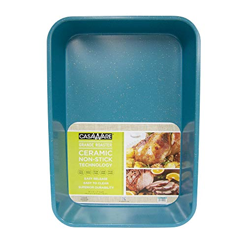 casaWare Grande Lasagna/Roaster Pan 18 x 12 x 3-Inch - Extra Large, Ceramic Coated NonStick (Blue Granite)