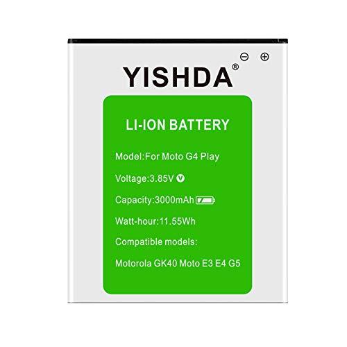 YISHDA - Batería de Repuesto para Motorola GK40 SNN5976A (3000 mAh, Compatible con teléfonos móviles E3 E4 G5 XT1601 XT1603 XT1607 XT1609 XT1675 XT1700)