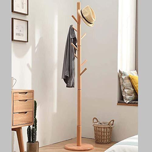 NEHARO Abrigo Soporte de Rack Sala de Estar Dormitorio Perchero de Madera Color Haya Escudo Estante de la Capa de Suelo Rack Fácil de Acceder (Color : Wood Color, Size : 175x40cm)