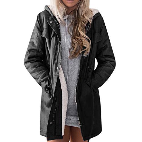 HLUKY Long Gilet Femme Manteau Femme Hiver Femmes Automne Hiver Casual Loose Denim Manches Longues Grande Taille Manteau Veste Blouson Jean Bouton Veste Jacket Coat Outwear