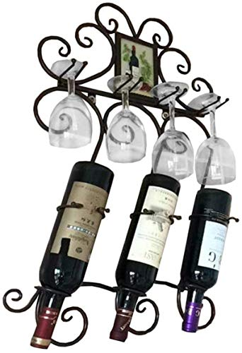 Clásico Soporte de pared de metal copas estilo europeo Bastidores titular de la botella de vino Patrón Colgando unidad de almacenamiento de vino del vidrio flotante hierro Estantes cáliz Organizador N