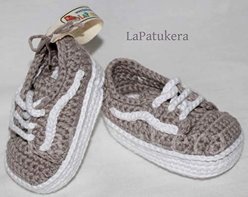 Babyschuhe. Häkeln Unisex Wans-Stil. 100% Baumwolle Größen von 0 bis 9 Monaten. Handgefertigt in Spanien. Geschenk für Baby. Sport Patukos.