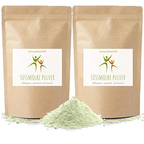Süssmolke Pulver - 2 x 500 g (1 kg) - Molkekur - aus frischer Molke hergestellt - in Premiumqualität - Molkeproteinpulver, Molke Natur, Süssmolkepulver, Trinkmolke, Molke-Drink - OHNE Zusätze