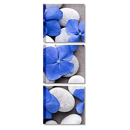 Quadri L&C ITALIA Quadri Bagno Moderno Zen 25 x 25 Quadretti da Parete Stampe su Tela Rilassanti con Sassi Fiori Blu per Camera da Letto Centro Estetico Benessere - Tris 1