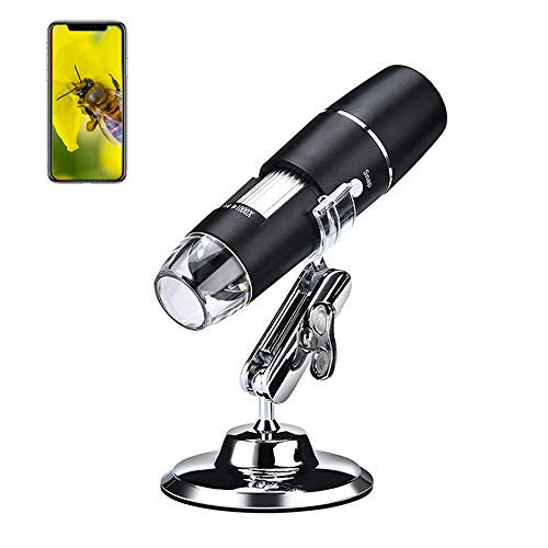 1000X WiFi Digital Microscope for iPhone Android Phone and Tablet, Cainda Wireless Handheld Microscope Camera with Metal Bracket, Mini Design Pocket Size Easy to Carry