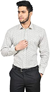 The Mods Men's Formal Off-White Color Printed Shirt