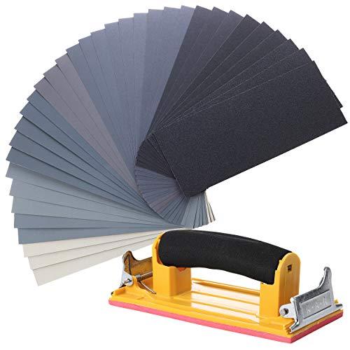 Bates- Sand Paper with 1 Handle, 36 Pack, Sandpaper, Sandpaper Assortment, Sand Paper Variety, Sanding Block, Sandpaper Block, Sandpaper for Wood, Automotive Sandpaper, Sand Block, Fine Grit Sandpaper