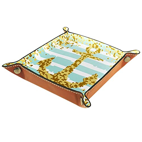 Organizador de cuero con ancla de mosaico amarillo para viajes, hogar u oficina