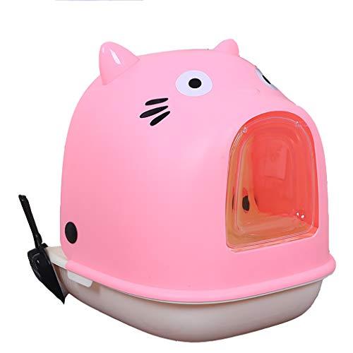 HE-XSHDTT Caja de Arena para Gatos Grande con Entrada Frontal o Superior configurable con Bandeja de Arena para Gatos con Desodorante en Cuchara para Gatos,Rosado