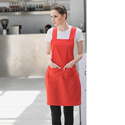 Katoen Chef keukenschort, slabbetje, professioneel, met damestassen, met schort, geschikt voor de grill, in de oven, in de tuin (zwart, geel, groen, rood, oranje), kruis type A 29 x 22 inch