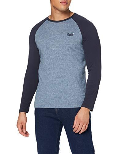 Superdry LS Top Camisa, Azure Tois Mega Grit, L para Hombre