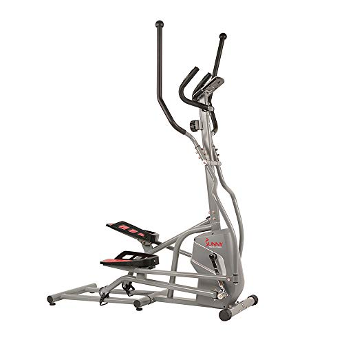 Sunny Health & Fitness Magnetic Elliptical Trainer Machine w/ Tablet Holder, LCD Monitor, 220 LB Max Weight and Pulse Monitor - SF-E3810,Gray