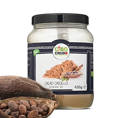 CiboCrudo Cacao in Polvere- 450gr - Cacao Powder, Biologico Naturale e Puro al 100%, Fave di Cacao Criollo, Ricco di Minerali e Vitamine