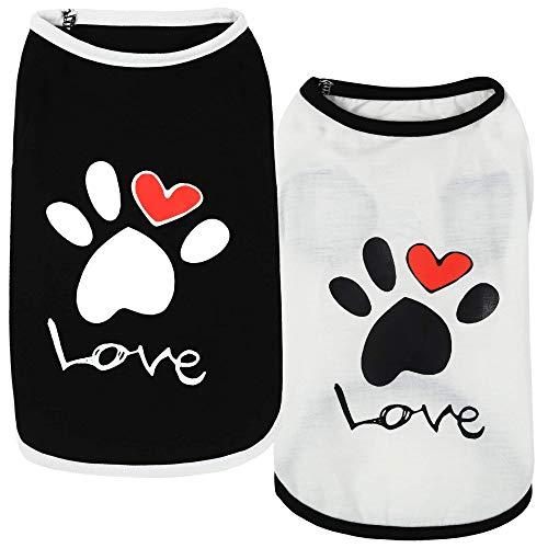 VSPET Hundekleidung, 2er-Pack, 100 % Baumwolle, süßes Sommer-Welpen-Shirt für Hunde und Katzen, Yorkie, Chihuahua, Bulldogge, T-Shirt Outfit (Herz 1, X-Large)