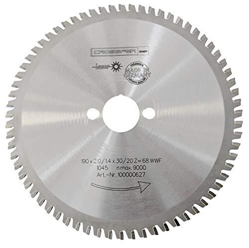 CROSSFER HM Kreissägeblatt 190 x 30 mm Z68 Multifunktionssägeblatt für Metall Kunststoff Spanplatten Laminat Hartmetall bestückt für Kreissägen